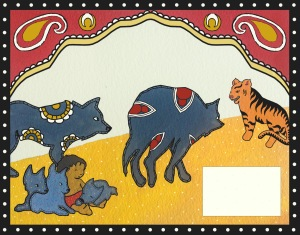 "For anyone who has seen the animated movie ""The Jungle Book,"" you are already familiar with the general plot of ""Mowgli's Brothers"" from Rudyard Kipling's collection of short stories. Based on Indian textiles and art, in particular kalamkari and batik. The design of Shere Khan is directly inspired by Indian imagery of tigers."