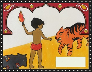 "My final illustration for Rudyard Kipling's ""Mowgli's Brothers,"" again inspired by Indian kalamkari."